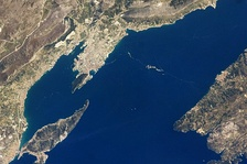 Split and the surrounding satellite towns, as seen from space.