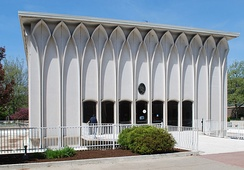 The DeRoy Auditorium on the Wayne State University campus, a 1964 Modernist architecture by Minoru Yamasaki, one of the most prominent architects of the 20th century.