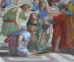 Detail from Raphael's The School of Athens, reproduced on the cover of the book and DVD versions of Civilisation