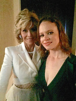 Fonda backstage with actress Thora Birch before being honored at the 2015 Hollywood Film Awards