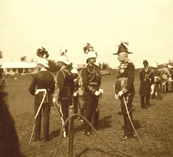 Governor Lt. Gen. Sir Henry LeGuay Geary, KCB (right), at Prospect Camp, Bermuda, on Tuesday, the 11 March, 1902 to decorate three officers with the DSO