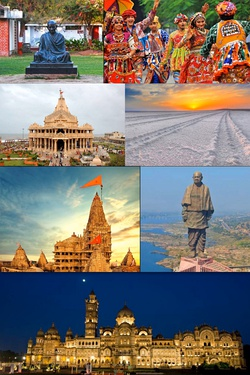 a montage of images from Gujarat showing statues of Mahatma Gandhi and Sardar Vallabhbhai Patel, people, temples, a palace and a salt marsh