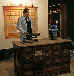 The pharmacy of Caleb Bradham, with a Pepsi dispenser