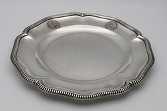 A plate from the dinner service sold by Haile Selassie in England in 1937