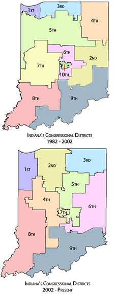 Indiana congressional districts before and after the most recent redistricting