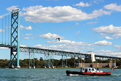 The J.W. Westcott II on the Detroit River in front of the Ambassador Bridge.