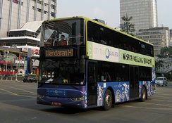 Jakarta double-decker city tour bus passing through landmarks and points of interest in Jakarta, Indonesia