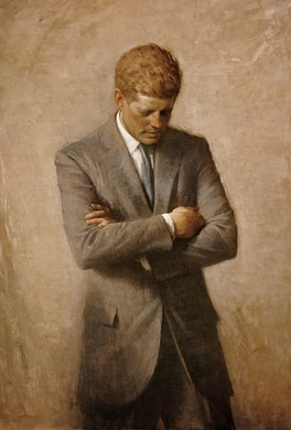 The official White House portrait of John F. Kennedy, painted by Aaron Shikler