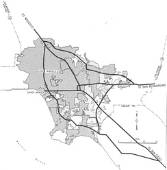 1955 map of the planned Interstates in the Greater Los Angeles Area. The original proposal for present-day I-210 includes its original eastern terminus in Pomona.