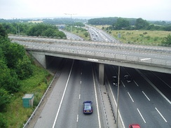 M26 looking east at junction 5. The A21 from Sevenoaks is crossing on the bridge in the foreground.