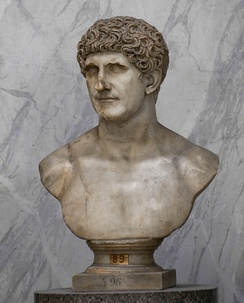A Roman marble portrait bust of Mark Antony, made during the Flavian dynasty (69—96 AD), Vatican Museums