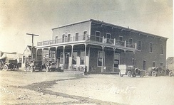 The Montgomery Hotel in 1905. It was owned by Bob Montgomery, namesake of the Montgomery-Shoshone Mine in nearby Rhyolite.