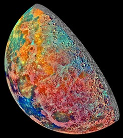 An artificially coloured mosaic constructed from a series of 53 images taken through three spectral filters by Galileo' s imaging system as the spacecraft flew over the northern regions of the Moon on 7 December 1992.