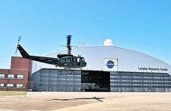 NASA's UH-1H returns to Langley after supporting space shuttle operations at Kennedy Space Center.