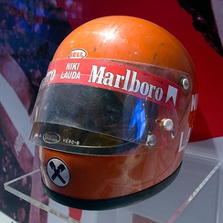 Niki Lauda helmet from the 1970s, at the Museo Ferrari in Maranello