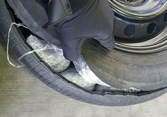Methamphetamine smuggled inside a car tire