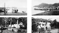 United States' rescue effort at St. Vincent, 1902, following an eruption of the volcano at La Soufrière.