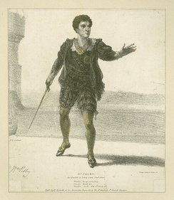 Print of William Pelby playing Hamlet in an 1826 production at Drury Lane.