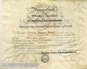 A Yale University PhD diploma from 1861.