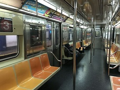 Interior of an R62 car on the 3 train