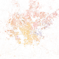 Map of racial distribution in San Antonio, 2010 U.S. Census. Each dot is 25 people: White, Black, Asian Hispanic of any race, or other (yellow)