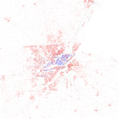 Map of racial distribution in Toledo, 2010 U.S. Census. Each dot is 25 people: White, Black, Asian, Hispanic or Latino of any race or Other (yellow)