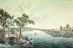 Homes on narrow river lots along the Red River in 1822 by Peter Rindisbacher with Fort Douglas in the background