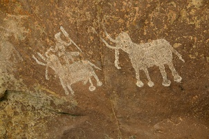 Mesolithic rock painting, Bhimbetka rock shelters, a UNESCO World Heritage Site