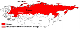 Map of all areas where the Russian language is the language spoken by the majority of the population.