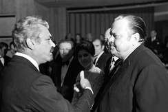 Sergei Bondarchuk and Welles at the Battle of Neretva premiere in Sarajevo (November 1969)