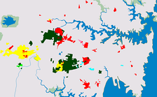 Sydney areas where significant population of Chinese (red), Vietnamese (yellow), Arabic (dark green), Greek (light blue), Turkish (brown), Serbian (light green) and Korean (pink) speakers lived in 2006