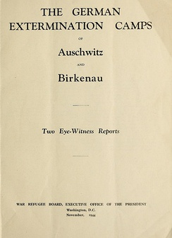 The German extermination camps Auschwitz and Birkenau - title page, november 1944
