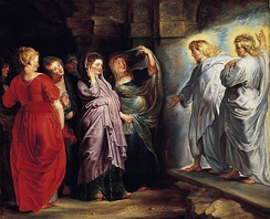 The Three Marys at the Tomb by Peter Paul Rubens, with Mary Magdalene in red