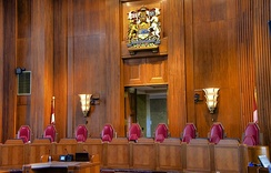 The bench for justices of the Supreme Court of Canada, the final court of appeals in the country