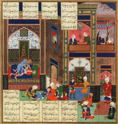 The assassination of Khosrau II, in a  manuscript of the Shahnameh of Shah Tahmasp made by Abd al-Samad c. 1535. Persian poems are from Ferdowsi's Shahnameh.