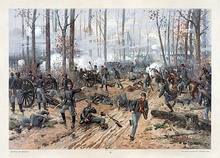Thure de Thulstrup;s painting of the Battle of Shiloh, depicting soldiers in battles in the woods