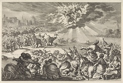 Ptolemy IV Philopator tries to have the Jews killed by drunken elephants; the Jews pray and are saved by two angels (3 Macc 5); Dutch engraving c. 1700