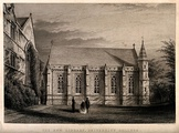University College, Oxford: the library. Line engraving by J.H. Le Keux, 1861, after himself.