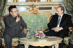 Kim talking with Russian President Vladimir Putin during their 2001 meeting in Moscow