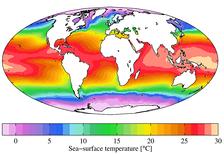 Среднегодовые температуры поверхности моря (2009)