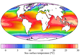 Annual mean sea surface temperatures.