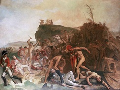 The Death of Captain James Cook, 14 February 1779, an unfinished painting by Johann Zoffany, c. 1795[78]