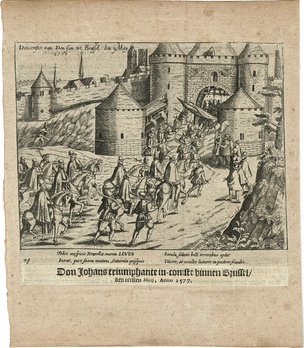 The Joyous Entry of John of Austria into Brussels, 1 May 1577. Print from 'The Wars of Nassau' by W. Baudartius, Amsterdam 1616.