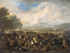 The Battle of Ramillies between the French and the English, 23 May 1706