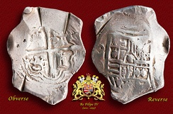 A silver 8-Reales (Peso) coin minted in México (1621–65).