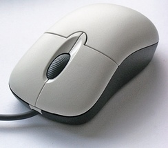 A computer mouse with the most common features: two buttons (left and right) and a scroll wheel (which also functions as a button)