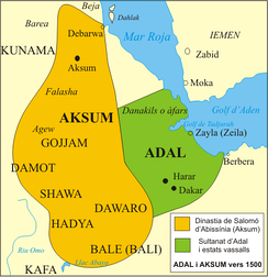 The Territory of the Adal Sultanate and its vassal states circa 1500.