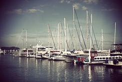 Boats and ferries at the Kota Kinabalu marina.