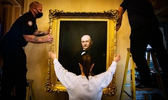 The removal of Crisp's portrait from the US Capitol in June 2020.