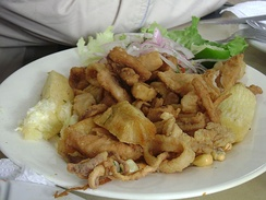 Chicharrón mixto, common dish in the country derived from Andalusia in southern Spain.